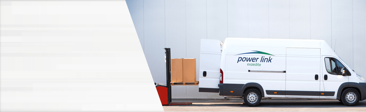Unloading shipment from Power Link Expedite van